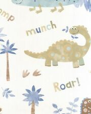 G45127 Tiny Tots Childrens Kids Dinosaurs Blue Brown White Feature Wallpaper