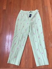 NWT Brooks Brothers 346 Lime Green Sea Shell Lined Embroidered Crop Pants SZ 8
