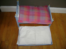 American Girl DOLL Wooden Trundle Bed & Bedding Set Quilt Blue Moon & Star RARE