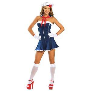 SUPER CUTE LADIES NAVY NAVAL SAILOR CHICK GIRL UNIFORM DRESS COSTUME UK 8-10