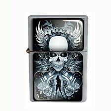 Wind Proof Dual Torch Refillable Butane Lighter Skull Design-003