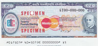 SPECIMEN UK 20 POUNDS THOMAS COOK TRAVELERS CHECK TRAVELLERS CHEQU UNC TDLR */*