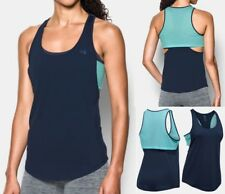$35 NEW WOMENS UNDER ARMOUR FLASH FAUX 2-in-1 Tank Top sz XL NAVY BLUE