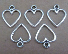 50pcs Tibetan Silver Dangle Charm Love Heart Beads Findings Wholesale PL010