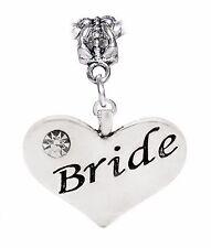 Bride Heart Wedding Party Bridal Shower Gift Rhinestone Charm for Euro Bracelets