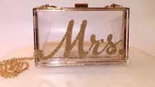 clutch handbag Clear acrylic  / w/ Mrs in gold glitter FREE GIFT W/ PURCHASE