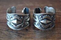 Navajo Hand Stamped Sterling Silver Hoop Earrings by Largo