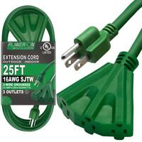 25 Ft Extension Cord with 3 Outlets, UL Listed 16/3 SJTW 3-Wire Grounded Green