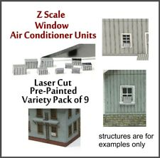 Z Scale Set of 9 Window Air Conditioners Laser Cut & Fully Painted, 3 Sizes