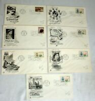 FDC FIRST DAY COVERS • CANADA Lot of 7 • 1965-66 w/ Cachets • Queen Eliz' RCMP+