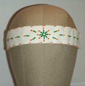 Vintage Beaded Hat Band Headband Choker Leather Wrap