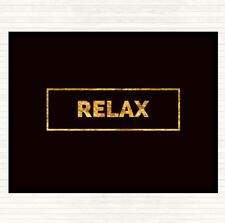 Black Gold Relax Boxed Quote Dinner Table Placemat