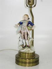 FRENCH STYLE Porcelain FIGURINE BOUDOIR TABLE LAMP MAN CARING BASKIT DOG