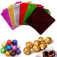 100pcs Square Foil Wrappers Package Candy Chocolate Lolly Wedding Party Decor