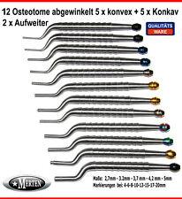 12 Osteotome  abgewinkelt  5 x konvex + 5 x Konkav + 2 x Aufweiter Osteotom