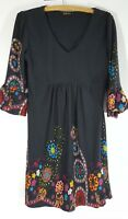 Womens REBORN Gray Floral Knit Tunic Dress Empire Bell Sleeves Size M