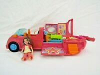 Vintage 2002 Polly Pocket Fashion Set Rock 'n Pop Pink Stretch Limo Car VGC K1