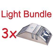 Wand Leuchte Solar Lampe Außenleuchte mit Bewegungsmelder 2 LED´s Edelstahl 3er