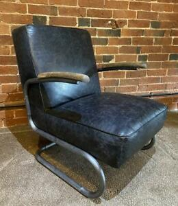 Leather Slab Armchair - Industrial / Warehouse Vintage Retro Style - RRP £799