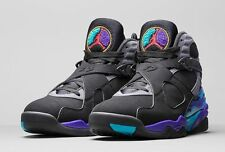 "NIKE AIR JORDAN (8) VIII RETRO ""AQUA"".. BLACK/ GREY.. SIZE MEN 10.5/or WOMEN 12"