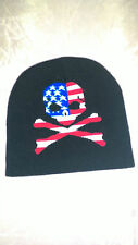 bonnet tête de mort drapeau americain, biker, moto, harley, chopper,triker,lady