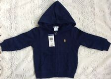 New Baby Boys Ralph Lauren Cotton Fleece Hoodie-Navy 6 Months