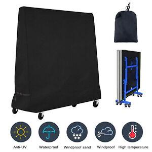 Heavy-Duty Weatherproof Indoor/Outdoor Table Tennis Table Cover Black