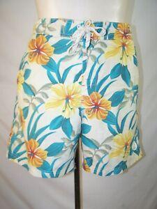 Caribbean Joe Men's swim trunks XL green yellow orange print shorts