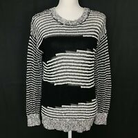 Vince Camuto Two Women's Medium Black White Striped Loose Knit Sweater Crew neck