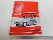 MANUALE USO MANUTENZIONE ORIGINALE ALFA ROMEO GIULIA 1600 JUNIOR Z ZAGATO 1972