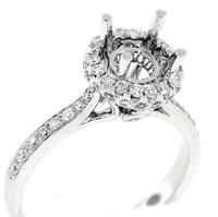 VS1 Halo Engagement Ring Setting 0.59ct Diamond 18k White Gold