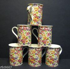 A SET OF SIX 6 OLDE ENGLAND  BONE CHINA MUGS CUPS BEAKERS BY HERON CROSS