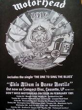 Motorhead 1916 Album & 1991 Tour Dates A4 to Frame? Poster Lemmy Kerrang