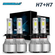 Ironwalls H7+H7 Combo 4Pcs Total 2600W 324000LM LED Headlight Kit Bulbs 6000K