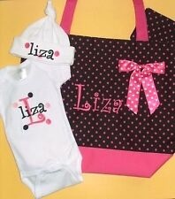 PERSONALIZED Baby Girl Diaper TOTE BAG, CREEPER T Shirt & HAT Gift Set PINK DOTS