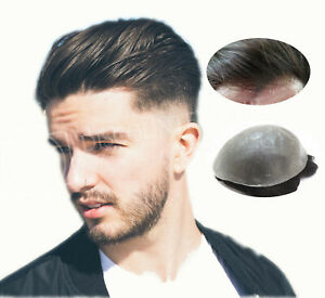 Mens Toupee Hair Replacement Hairpiece V-Loop Super Thin Skin Human Hair System