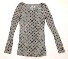 RUE21 Women's T-Shirt Blouse Long Sleeve Gray Cross Small *FREE SHIPPING* A352