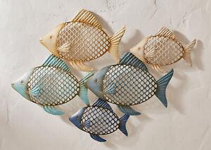 Wanddeko Fischschwarm aus Metall 67x46 cm, Wand Bild Schmuck Deko Hänger Fische