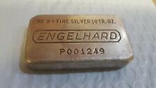 Super Rare 10 oz .999+ Fine Silver Engelhard Poured Bar Serial Nr P001249 ^