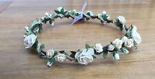 Flower Crown Ivory Wedding Wreath Flower Girl Halo festival Headband Handmade