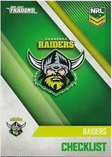 2017 NRL Traders Base Card (011) RAIDERS Check List