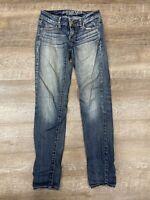 American Eagle Women's Jeans Size 0 Skinny Jegging Stretch Dark Wash Denim