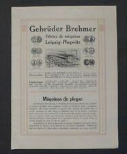 Prospekt Gebrüder Brehmer Maschinenfabrik Leipzig - Plagwitz, Falzmaschinen 1910