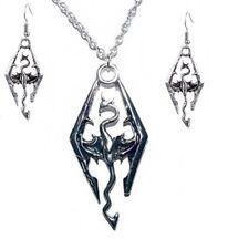 The Elder Scrolls Skyrim Dragon Logo Pendant Necklace W/ Earrings