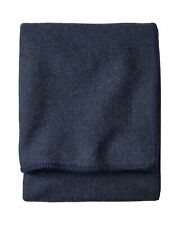 Pendleton Eco-Wise 100% Wool Solid Navy Midnight Blue Washable Blanket King Size
