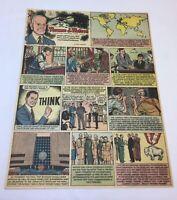 1957 cartoon page ~ THOMAS J. WATSON ~ industrial pioneer