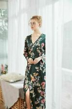 Luxurious Ladies Green Flower Prints Long Silky Dressing Gown Bath Robe ladpj246