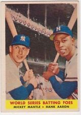 1958 Topps #418 World Series Batting Foes Mantle & Aaron, Excellent - Mint'