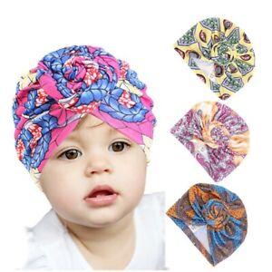 Girls Infant Hat Floral Print Turban Cap Newborn Head Wrap Beanie Knot Headband