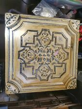 "Antique Framed 23"" X 23"" Metal Ceiling Tile Tin w/ Bullet Hole Story Wild West ?"